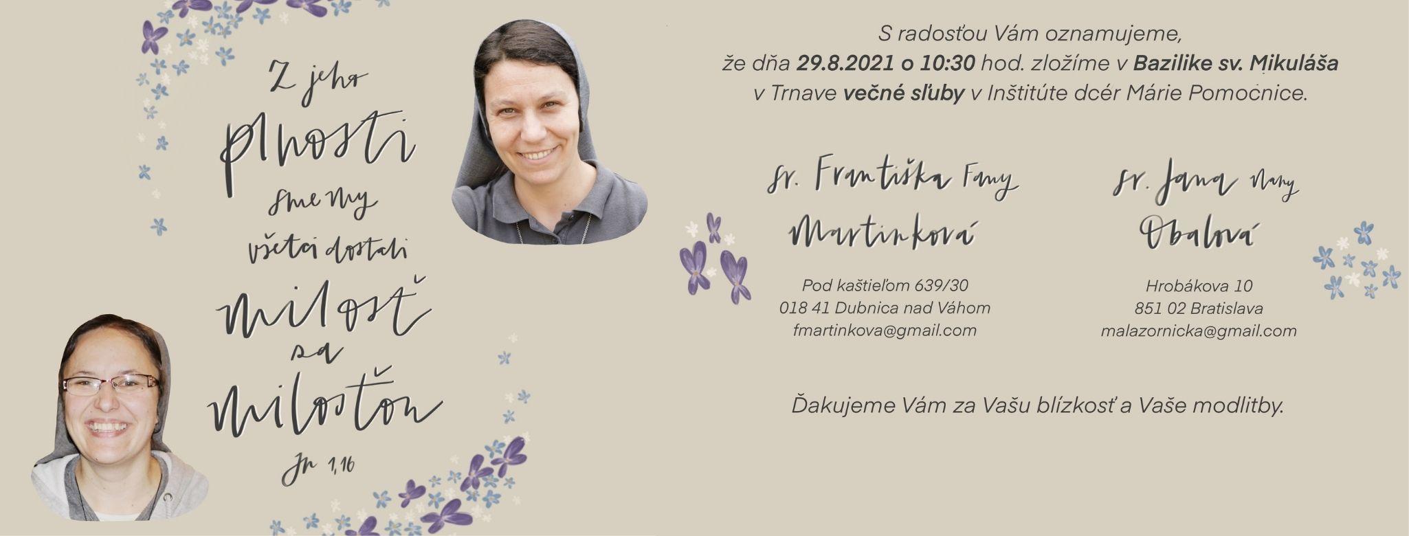 Pozvánka na večné sľuby sestier saleziánok Janky a Františky